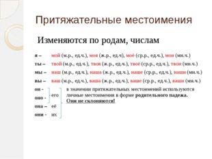 Притяжательные местоимения Изменяются по родам, числам я – мой(м.р., ед.ч.),м