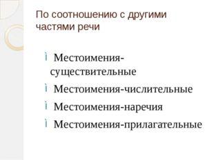 По соотношению с другими частями речи Местоимения-существительные Местоимения