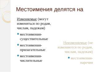 Местоимения делятся на Изменяемые (могут изменяться по родам, числам, падежам