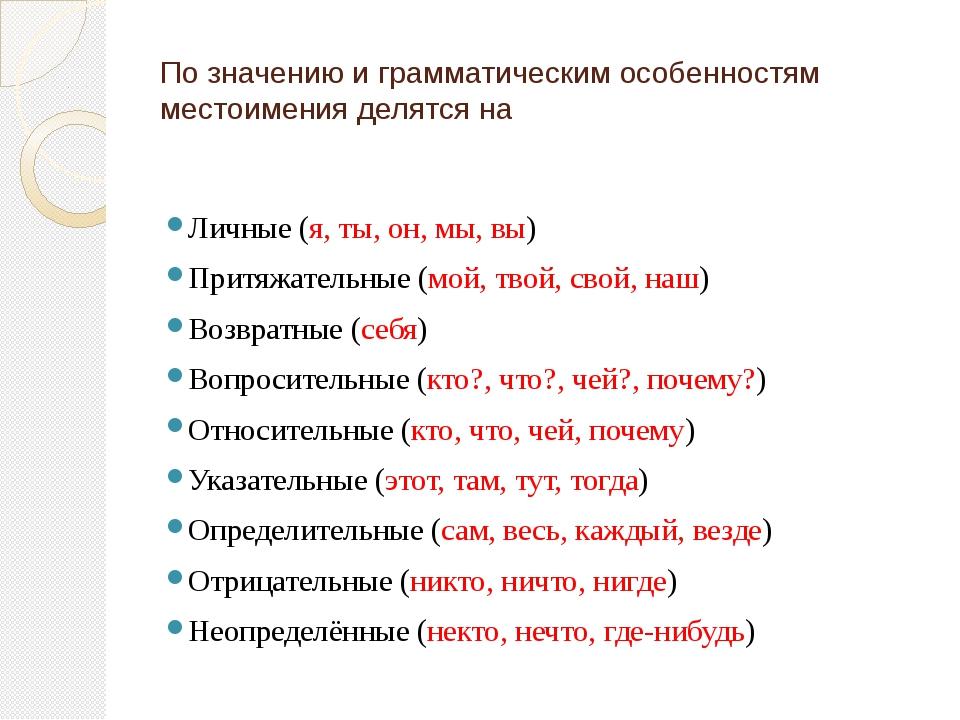 По значению и грамматическим особенностям местоимения делятся на Личные (я, т...