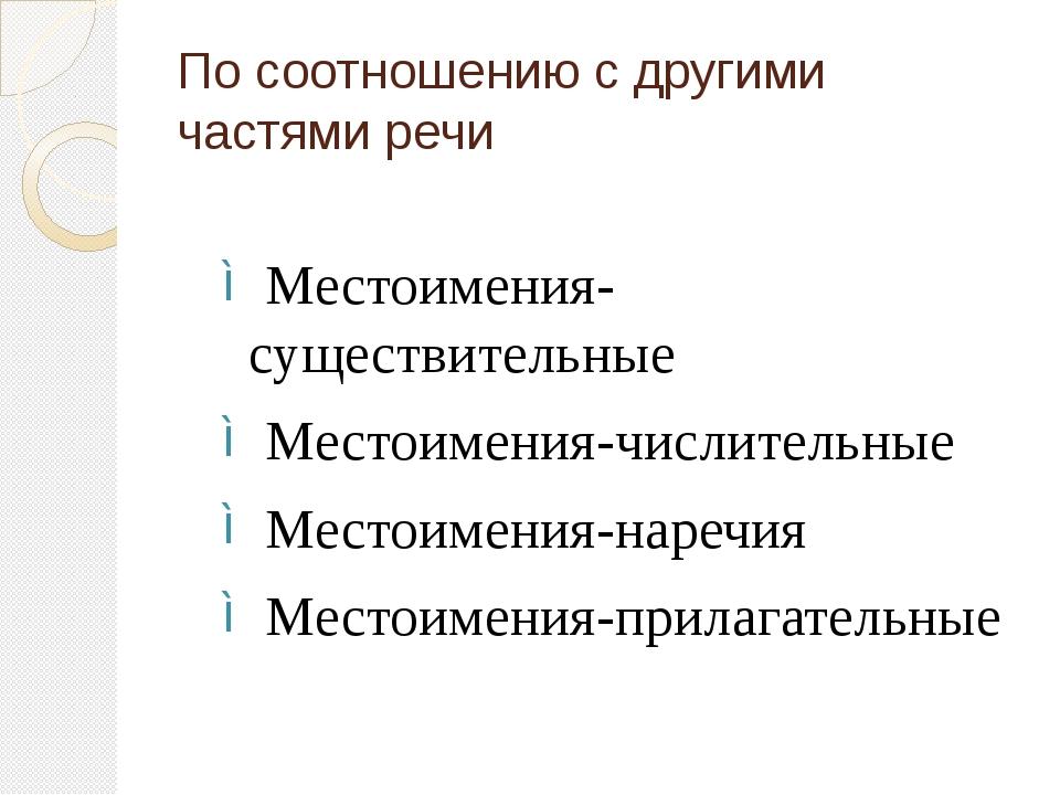 По соотношению с другими частями речи Местоимения-существительные Местоимения...