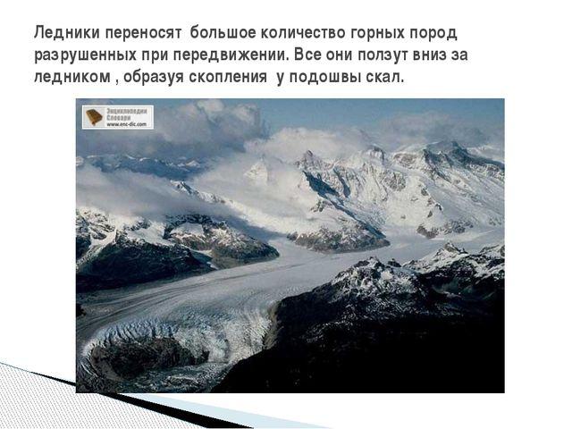 Ледники переносят большое количество горных пород разрушенных при передвижени...