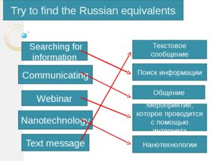 Try to find the Russian equivalents Searching for information Communicating