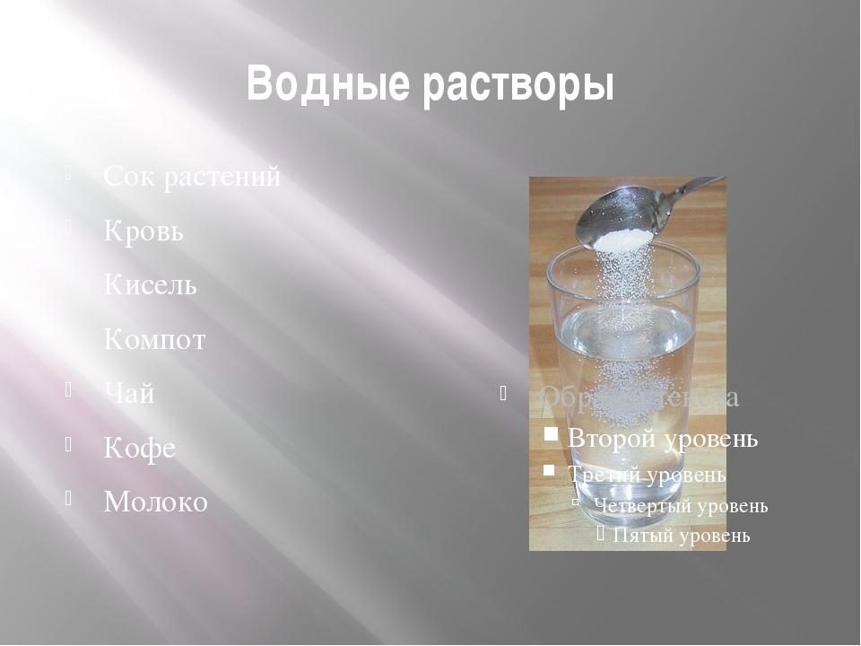Водные растворы Сок растений Кровь Кисель Компот Чай Кофе Молоко