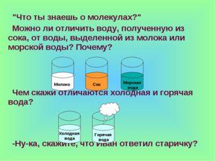 """""""Что ты знаешь о молекулах?"""" Можно ли отличить воду, полученную из сока, от в"""