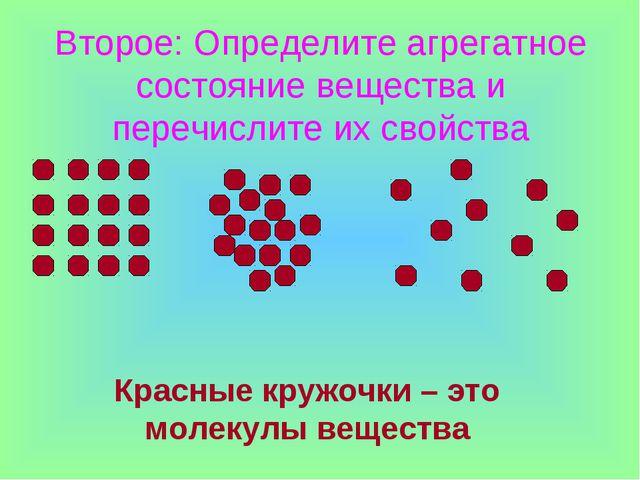 Второе: Определите агрегатное состояние вещества и перечислите их свойства Кр...