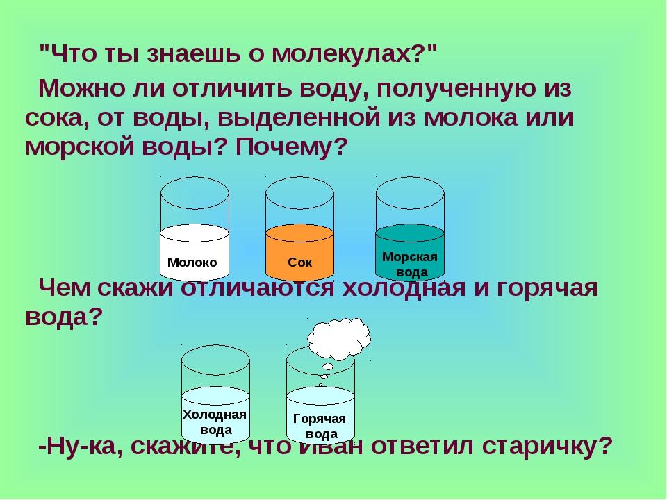 """""""Что ты знаешь о молекулах?"""" Можно ли отличить воду, полученную из сока, от в..."""