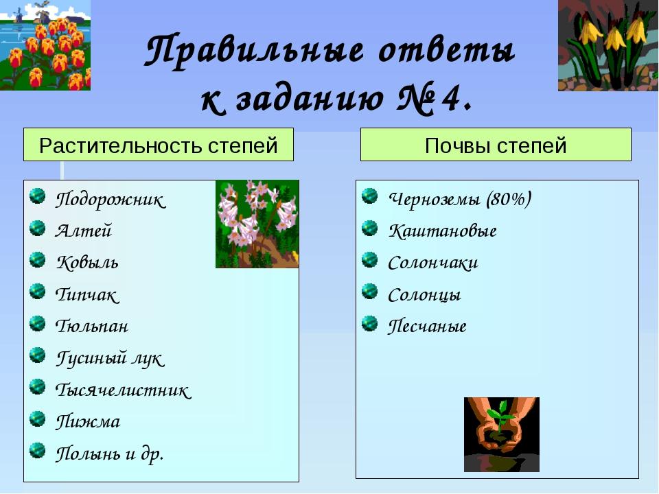 Правильные ответы к заданию № 4. Подорожник Алтей Ковыль Типчак Тюльпан Гусин...