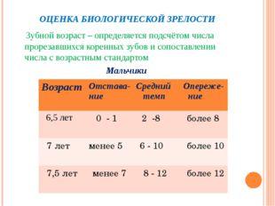 ОЦЕНКА БИОЛОГИЧЕСКОЙ ЗРЕЛОСТИ Зубной возраст – определяется подсчётом числа