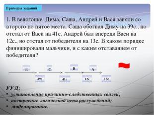Примеры заданий 1. В велогонке Дима, Саша, Андрей и Вася заняли со второго по