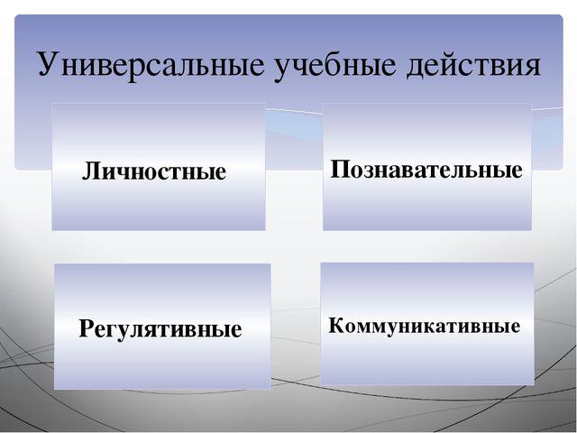 Универсальные учебные действия Личностные Регулятивные Познавательные Коммун...