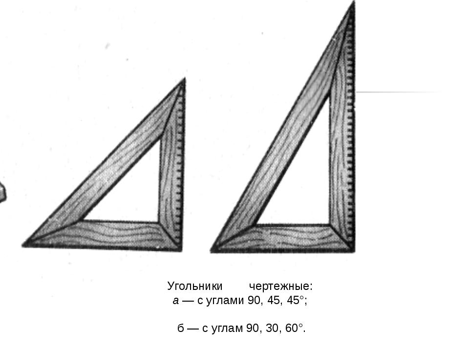 Угольники чертежные: а — с углами 90, 45, 45°; б — с углам 90, 30, 60°.
