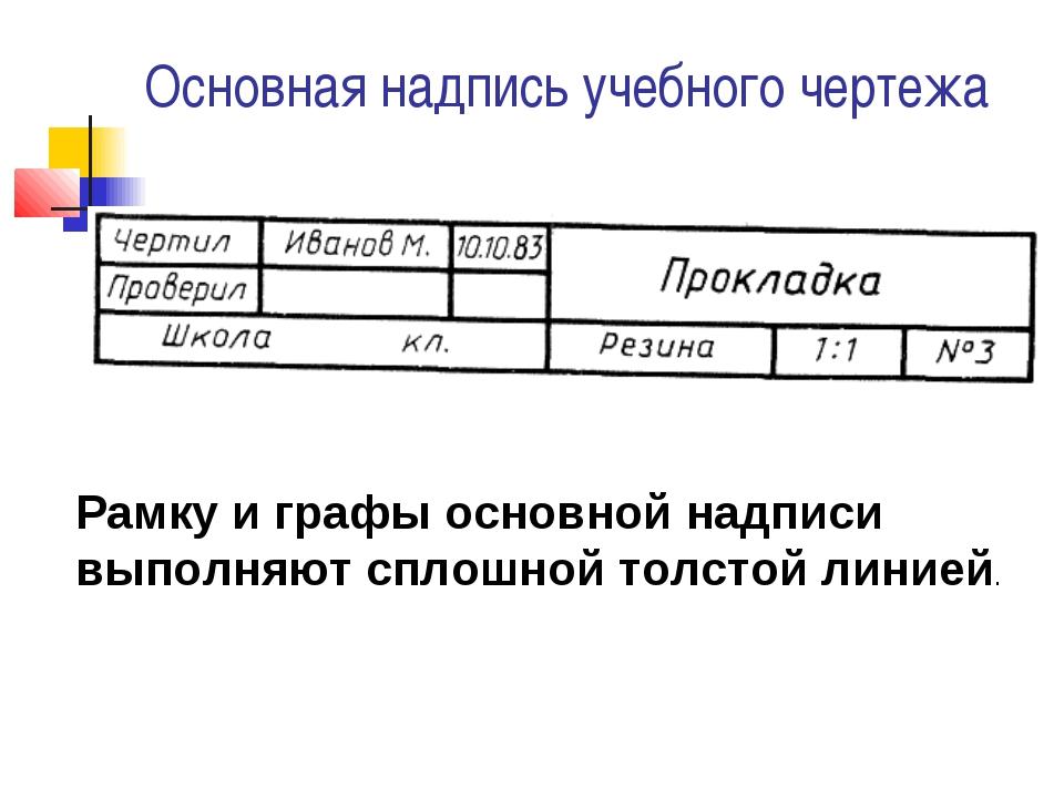 Основная надпись учебного чертежа Рамку и графы основной надписи выполняют сп...