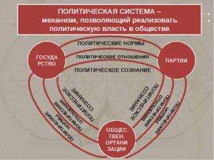ПОЛИТИЧЕСКАЯ СИСТЕМА – механизм, позволяющий реализовать политическую власть