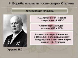 Хрущев Н.С. Н.С. Хрущев стал Первым секретарем ЦК КПСС Ставит верных людей во