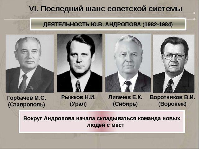Вокруг Андропова начала складываться команда новых людей с мест Горбачев М.С....