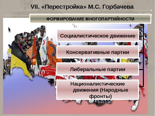 VII. «Перестройка» М.С. Горбачева ФОРМИРОВАНИЕ МНОГОПАРТИЙНОСТИ Социалистичес...