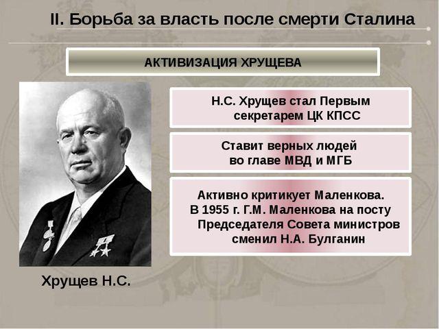 Хрущев Н.С. Н.С. Хрущев стал Первым секретарем ЦК КПСС Ставит верных людей во...
