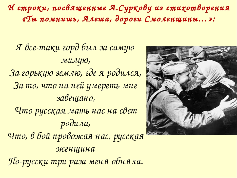 И строки, посвященные А.Суркову из стихотворения «Ты помнишь, Алеша, дороги С...
