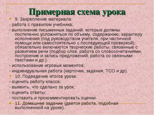 Примерная схема урока 9. Закрепление материала: - работа с правилом учебника;