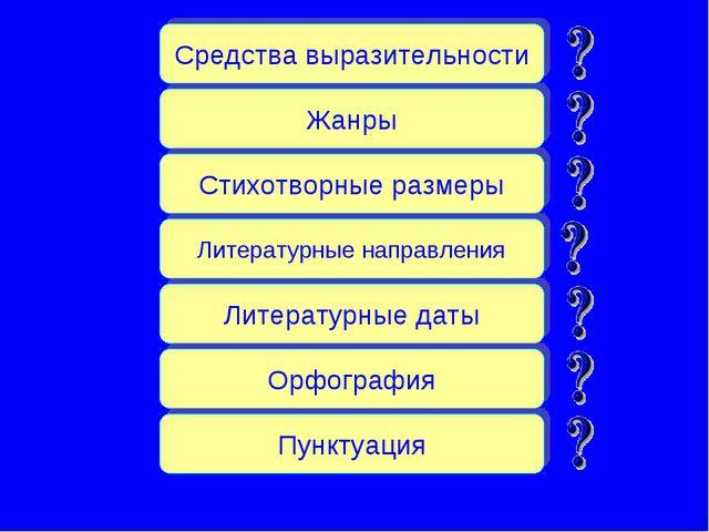 Средства выразительности Жанры Стихотворные размеры Литературные направления...