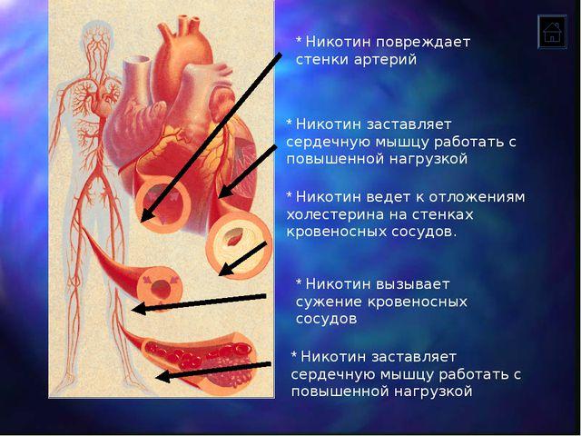 * Никотин вызывает сужение кровеносных сосудов * Никотин ведет к отложениям х...