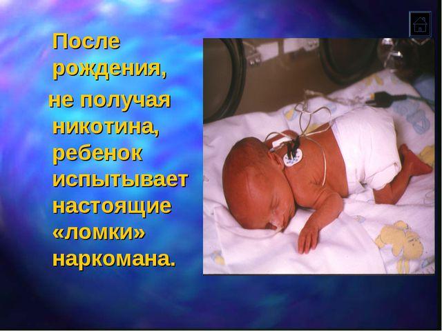 После рождения, не получая никотина, ребенок испытывает настоящие «ломки» на...