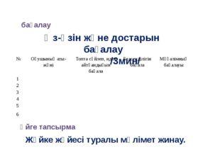 бағалау Өз-өзін және достарын бағалау /3мин/ Үйге тапсырма Жүйке жүйесі т