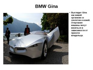 BMW Gina Выглядит Gina как живой организм со скелетом и кожей. Очертания маши