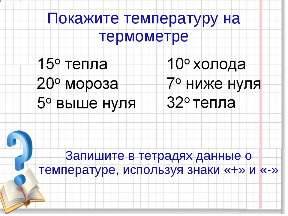 Покажите температуру на термометре Запишите в тетрадях данные о температуре,...