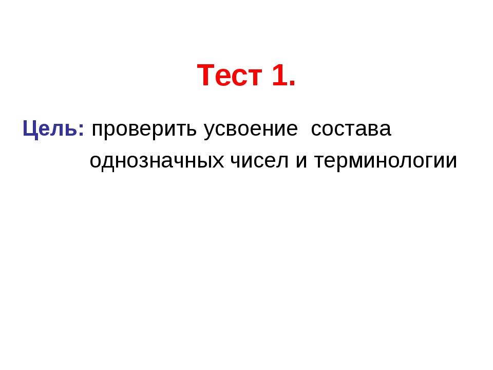 Тест 1. Цель: проверить усвоение состава однозначных чисел и терминологии
