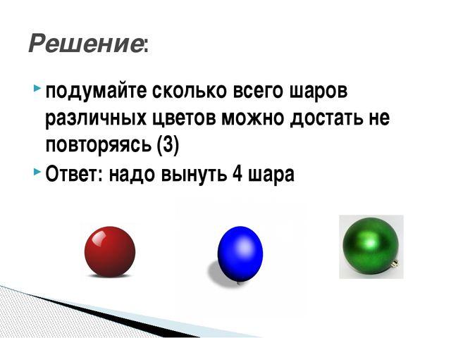 подумайте сколько всего шаров различных цветов можно достать не повторяясь (3...