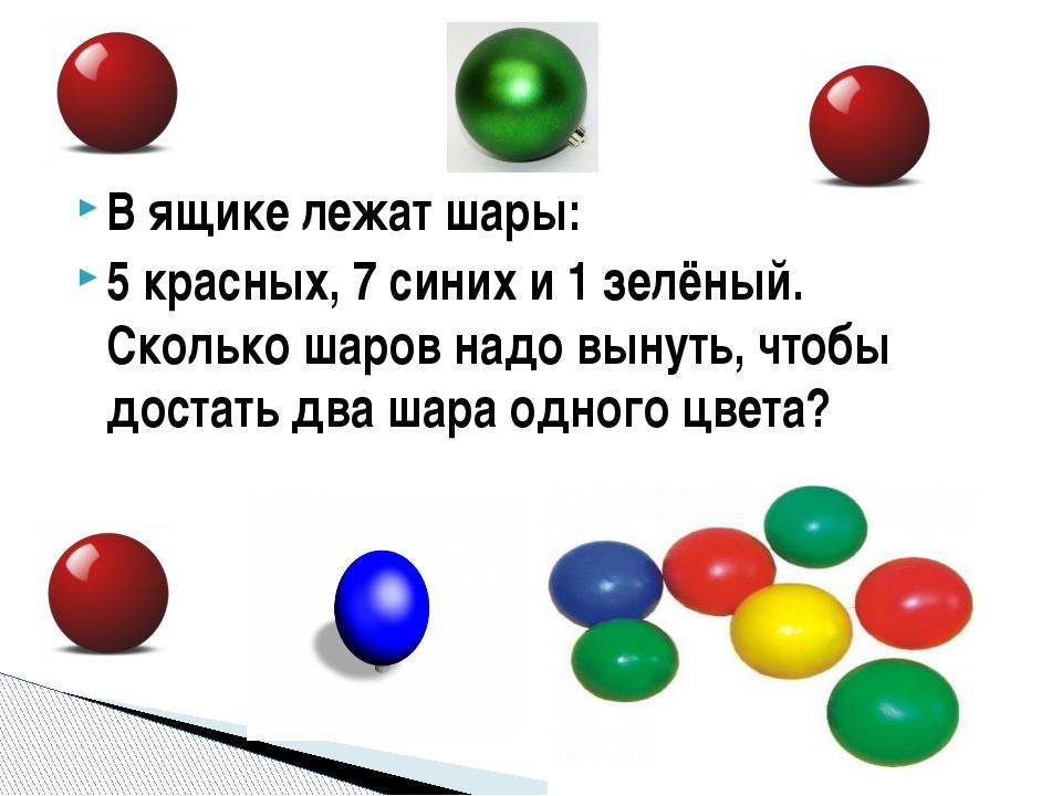 В ящике лежат шары: 5 красных, 7 синих и 1 зелёный. Сколько шаров надо вынуть...