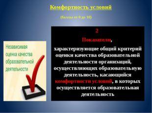 (баллы от 0 до 10) 2 Показатели, характеризующие общий критерий оценки качес