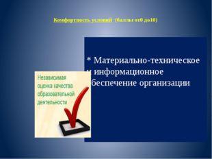 Комфортность условий (баллы от0 до10) * Материально-техническое иинформацио