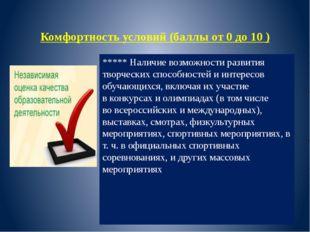 Комфортность условий (баллы от 0 до 10 ) ***** Наличие возможности развития