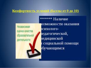 Комфортность условий (баллы от 0 до 10) ****** Наличие возможности оказания