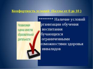 Комфортность условий (баллы от 0 до 10 ) ******* Наличие условий организации
