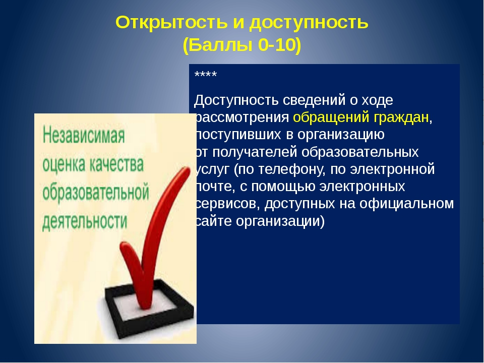 Открытость идоступность (Баллы 0-10) **** Доступность сведений оходе рассмо...