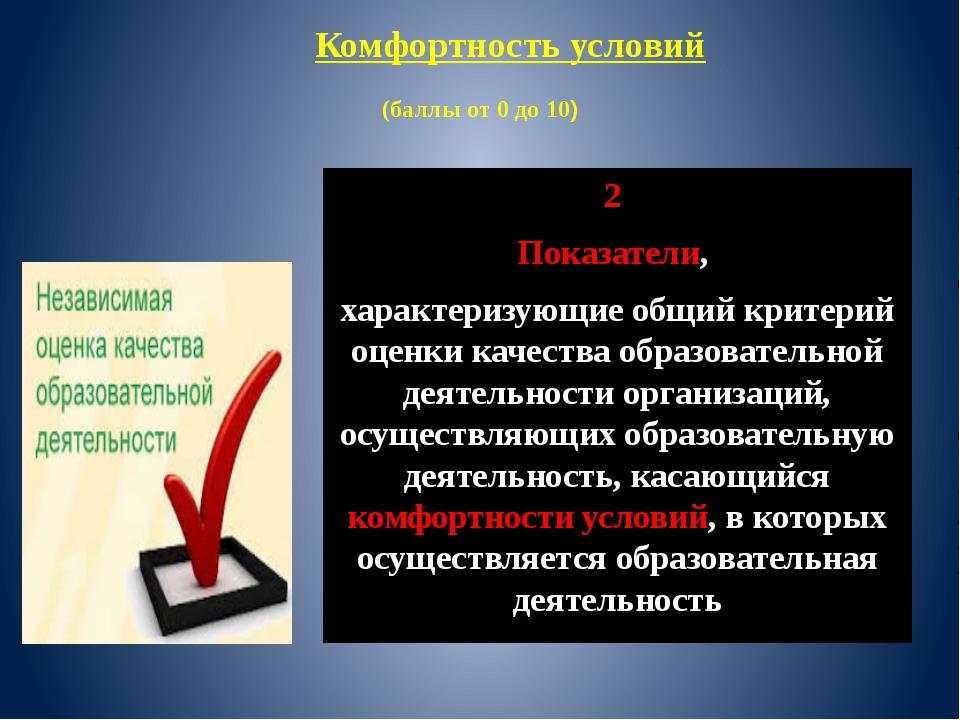 (баллы от 0 до 10) 2 Показатели, характеризующие общий критерий оценки качес...