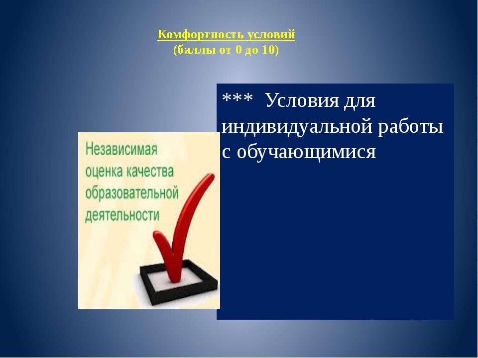 Комфортность условий (баллы от 0 до 10) *** Условия для индивидуальной работы...