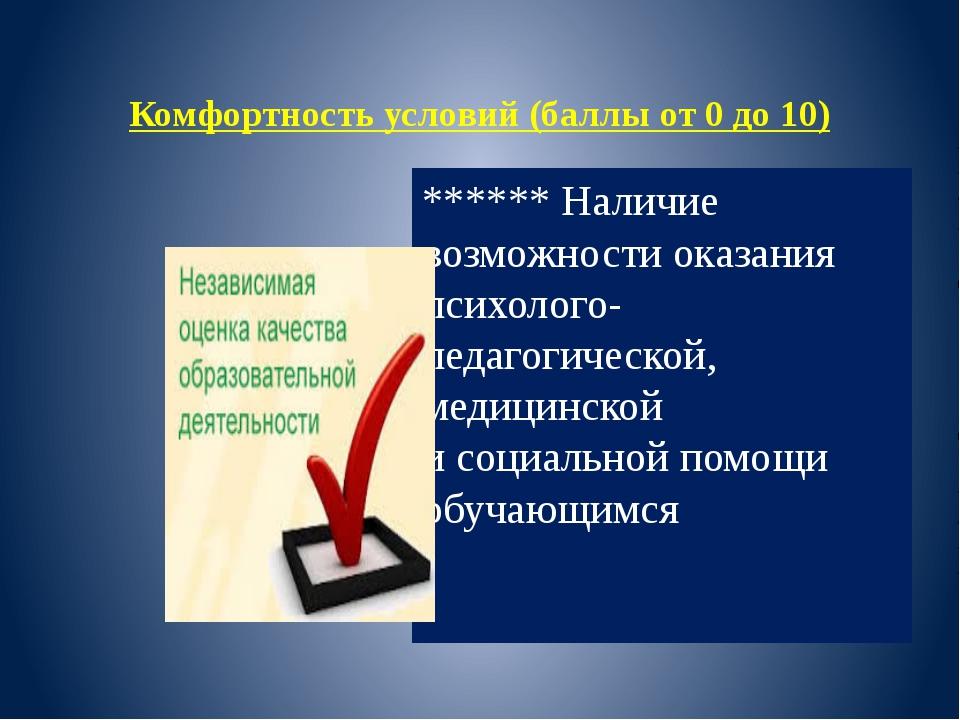 Комфортность условий (баллы от 0 до 10) ****** Наличие возможности оказания...