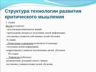 Структура технологии развития критического мышления I стадия: Вызов(evocati