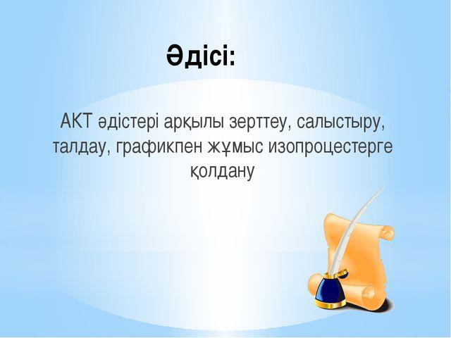 Әдісі: АКТ әдістері арқылы зерттеу, салыстыру, талдау, графикпен жұмыс изопро...