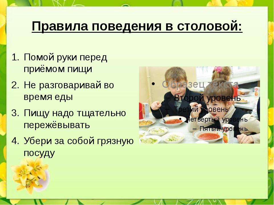 Правила поведения в столовой: Помой руки перед приёмом пищи Не разговаривай в...