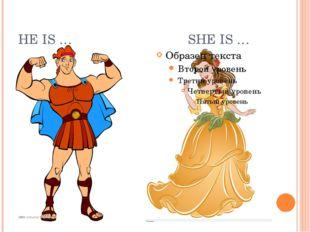 HE IS … SHE IS …