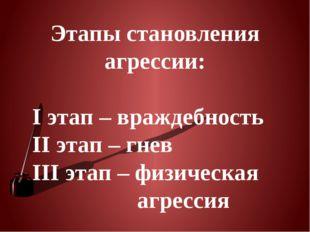Этапы становления агрессии: I этап – враждебность II этап – гнев III этап – ф