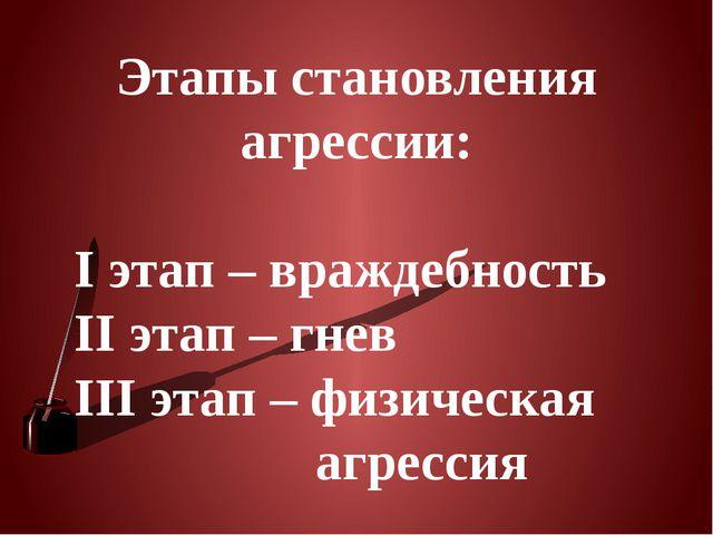 Этапы становления агрессии: I этап – враждебность II этап – гнев III этап – ф...