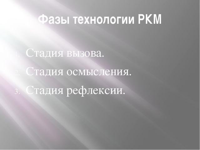 Фазы технологии РКМ Стадия вызова. Стадия осмысления. Стадия рефлексии.
