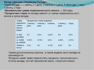Вклад «Депозит Сбербанка России» Срок вклада — 1 месяц и 1 день, 3 месяца и 1